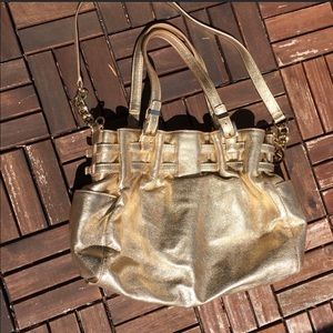 MK LARGE GOLD EDIE* LEATHER HOBO BAG, BEAUTIFUL⭐️